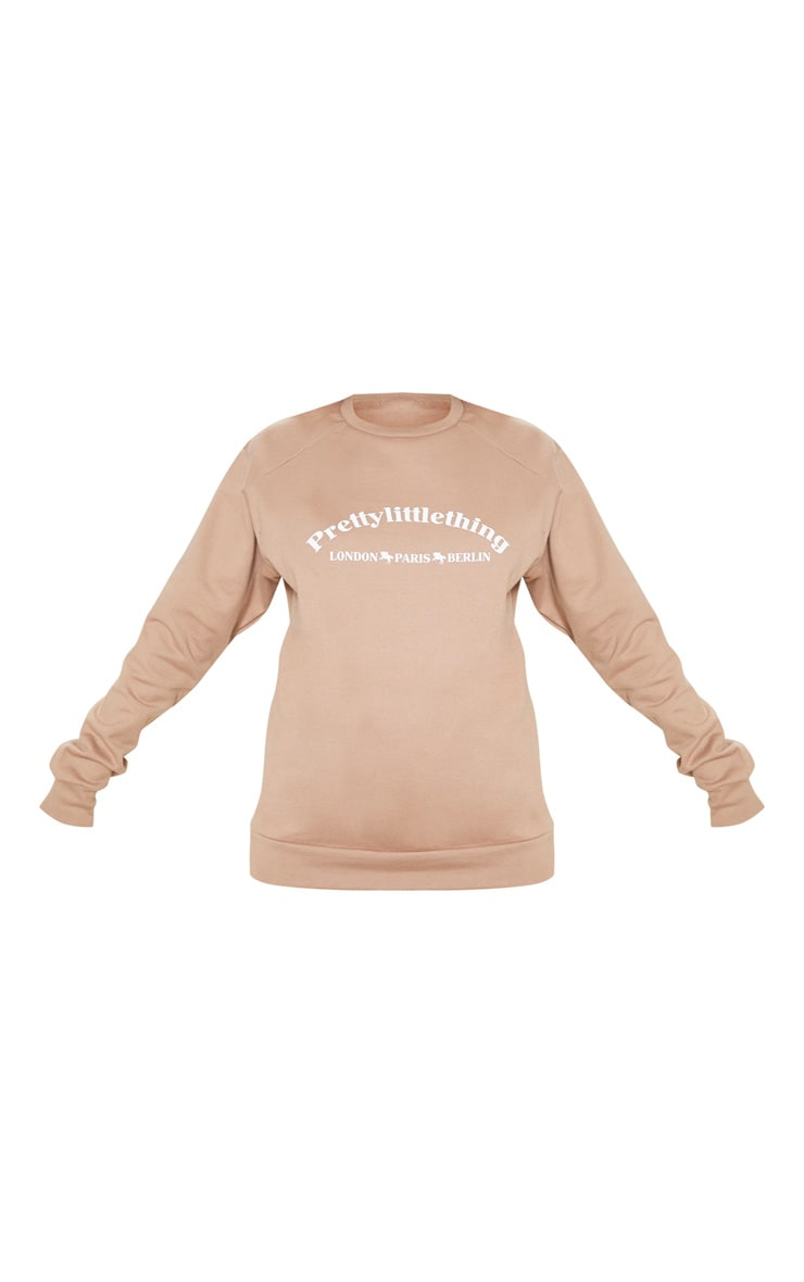PRETTYLITTLETHING Taupe Europe Slogan Oversized Sweater 3