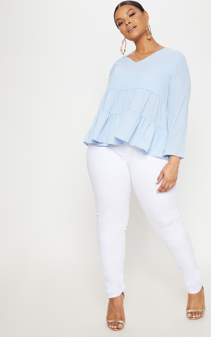 Plus Baby Blue Plunge Tiered Shirt 4