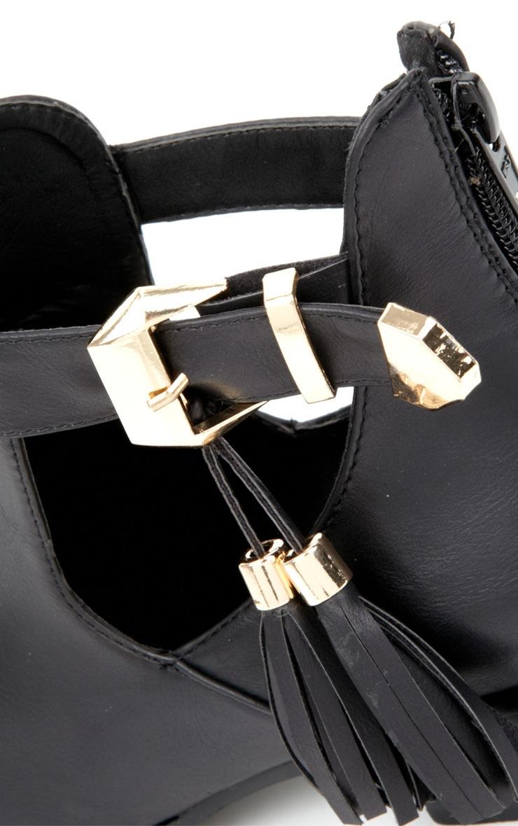 Mariana Black Cut Out Tassel Boots 4