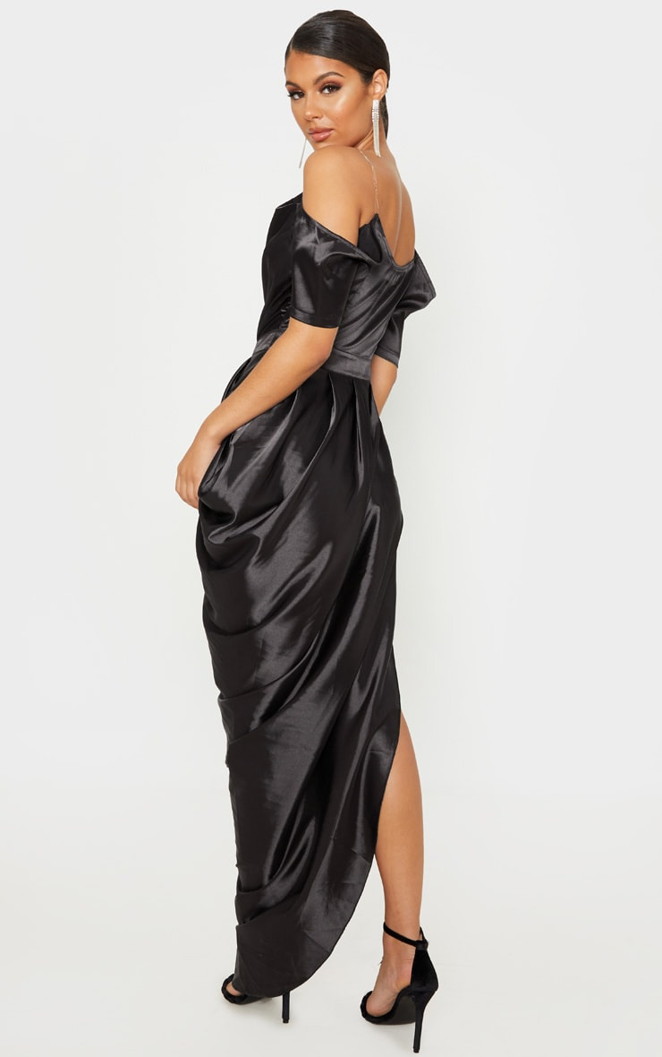 Black Satin Ruched Asymmetric Hem Maxi Dress 2