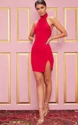140d7d4e590 Red Ribbed High Neck Split Detail Bodycon Dress image 4