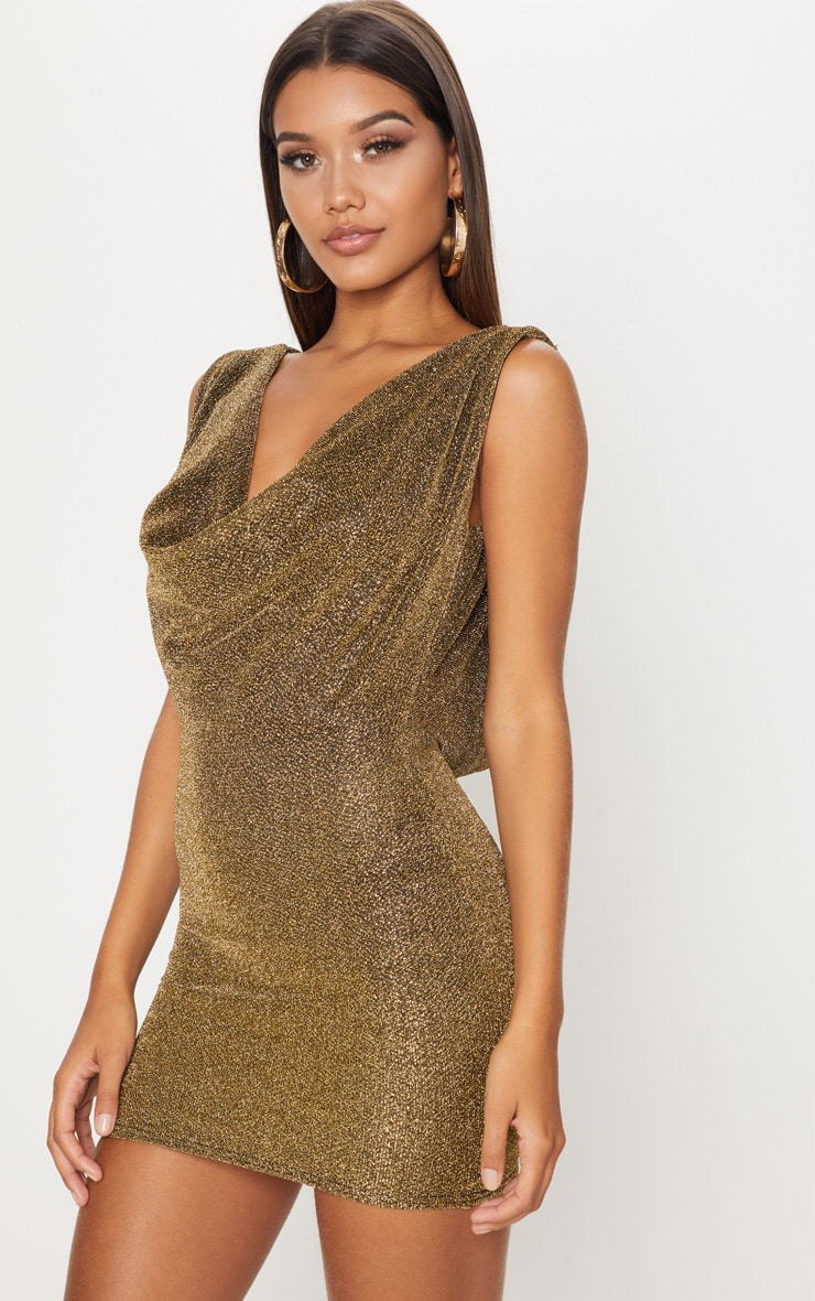 Gold Lurex Cowl Front & Back Bodycon Dress 2