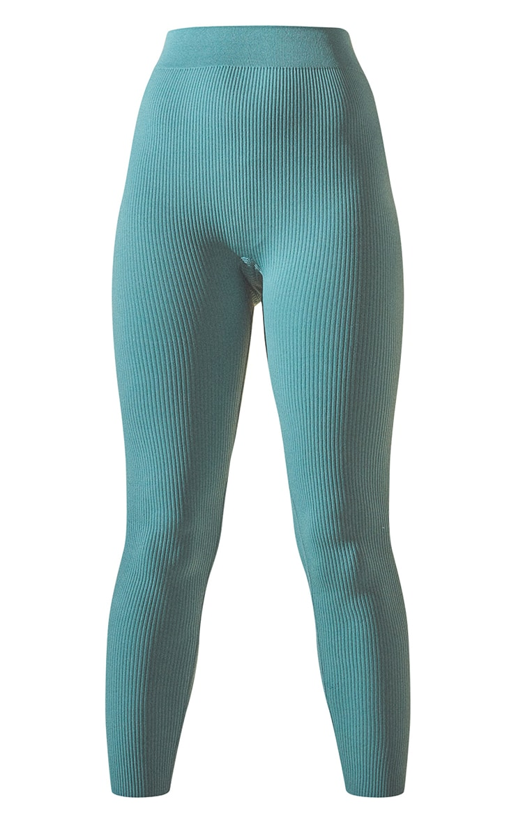 Washed Green Structured Contour Ribbed Leggings 5
