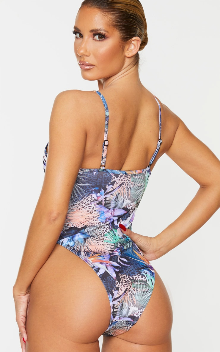 Multi Tropical Floral Scoop Neck Swimsuit 2