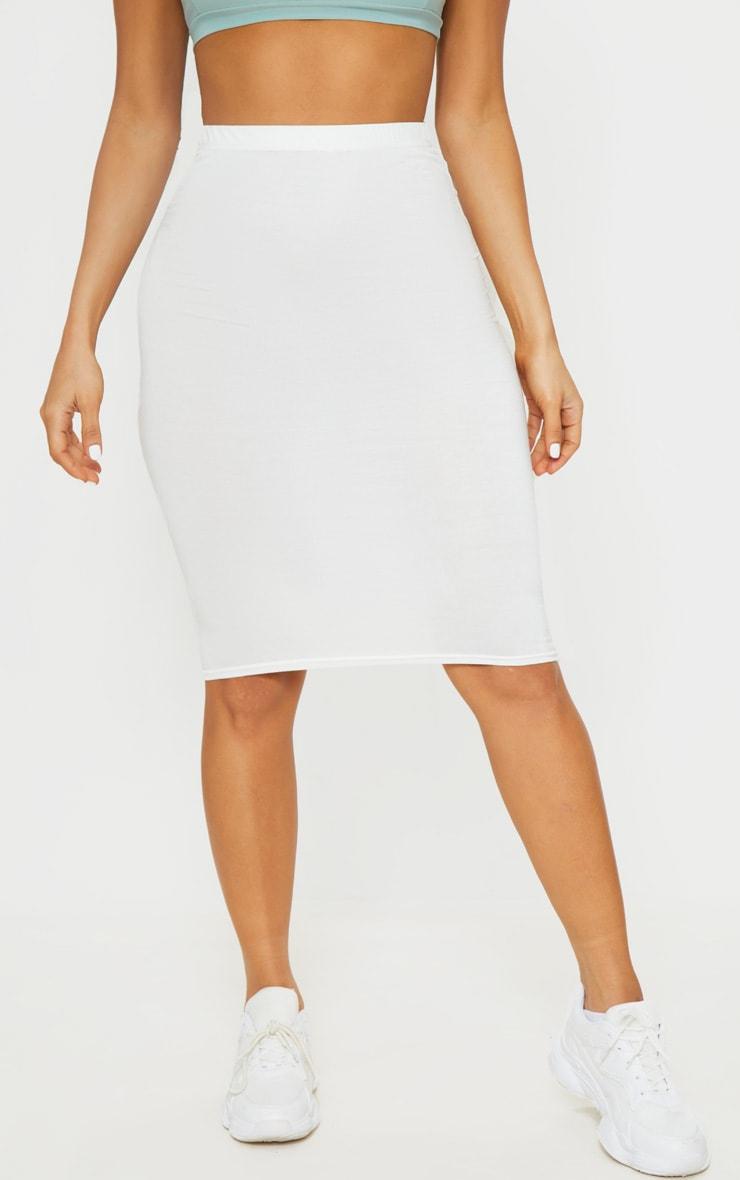 Cream Basic Midi Skirt 2