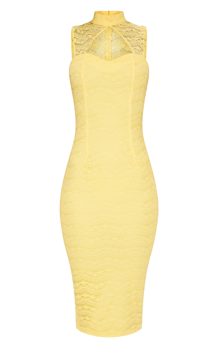 Yellow Lace High Neck Cut Out Detail Midi Dress  3