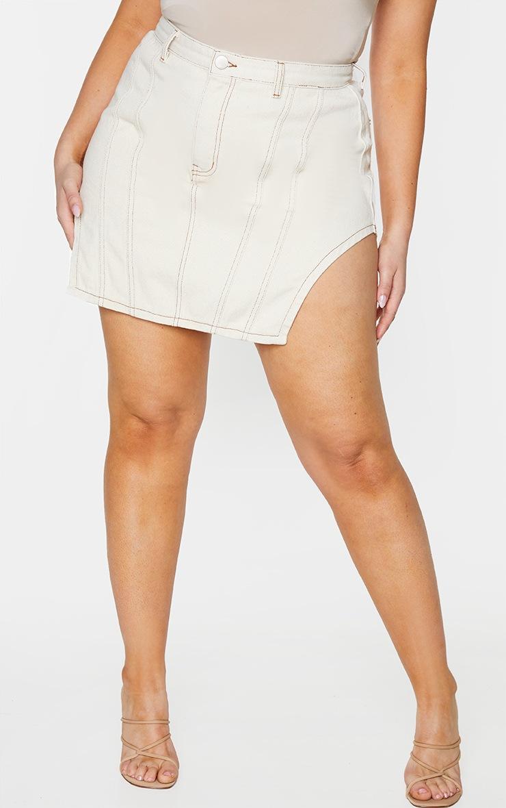 PLT Plus - Jupe en jean écru à coutures contrastantes et ourlets fendus 2