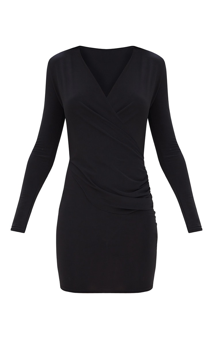 Black Slinky Ruched Wrap Over Bodycon Dress 3