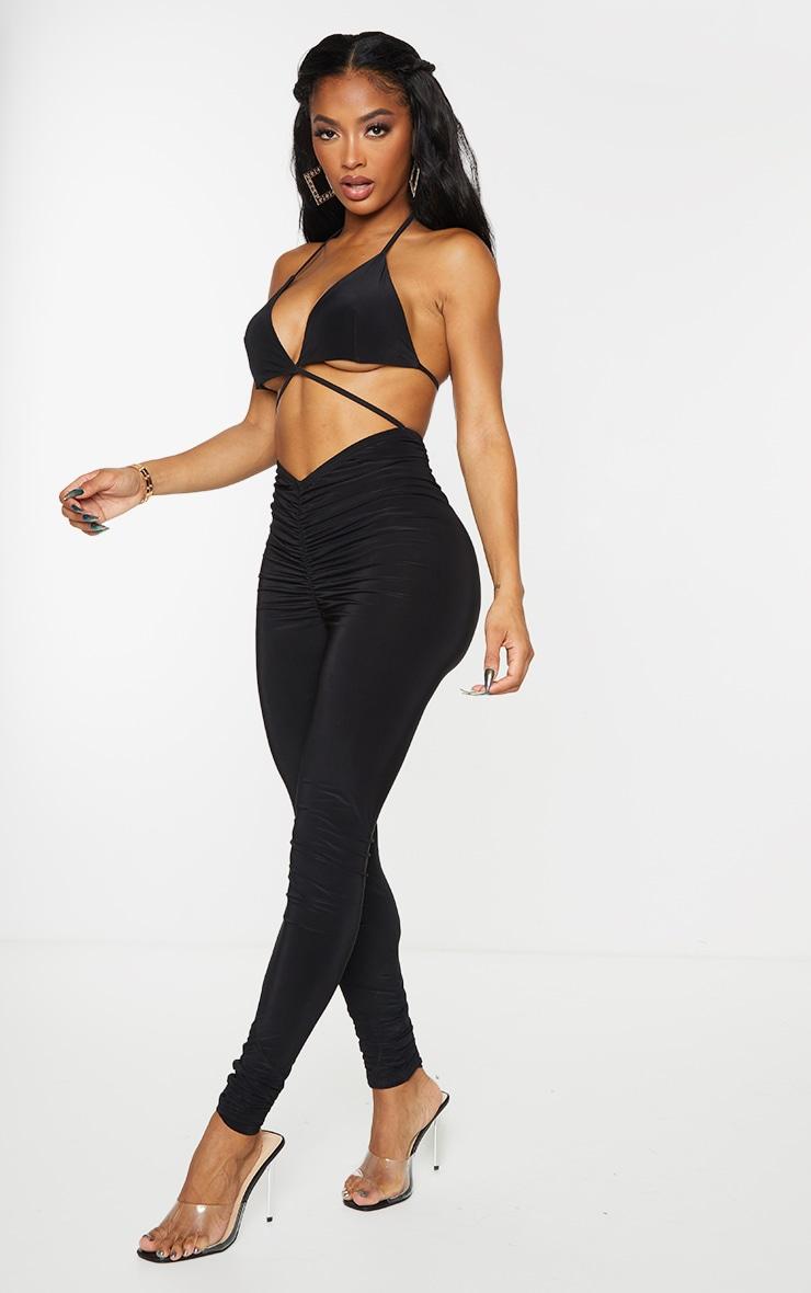 Shape Black Slinky Ruched Cut Out Jumpsuit 3