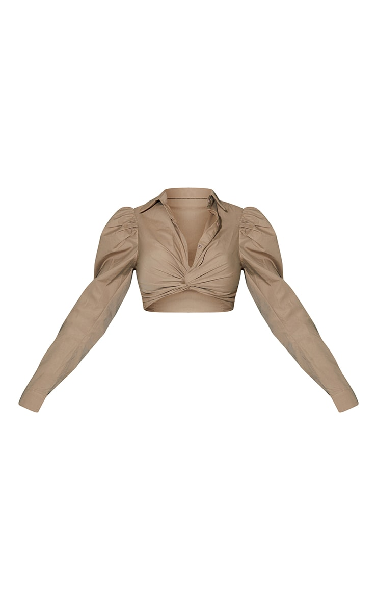 Taupe Woven Twist Front Puff Shoulder Long Sleeve Crop Shirt 5