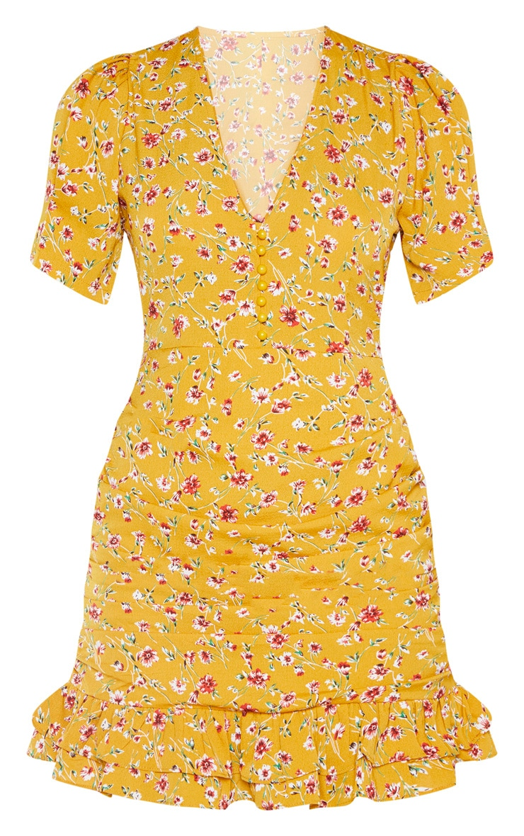 Mustard Ditsy Floral Ruched Skirt Tea Dress 3
