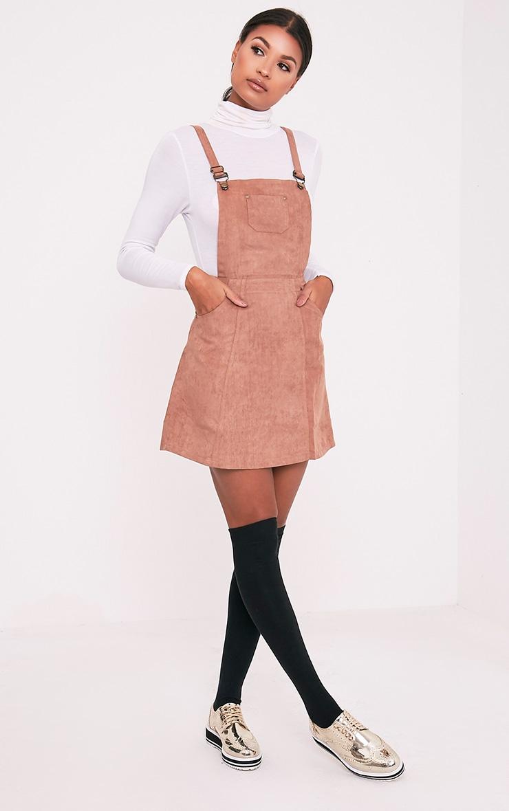 Lumie robe chasuble brun clair en imitation daim 5
