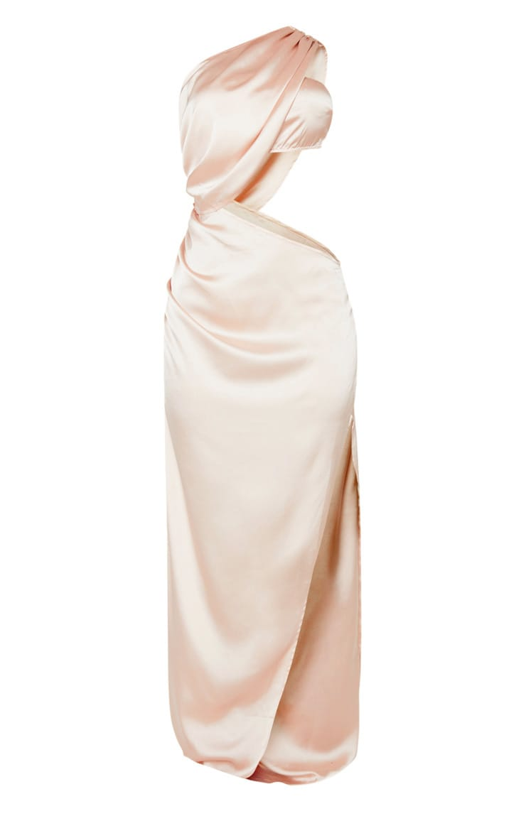 Champagne One Shoulder Cut Out Satin Maxi Dress 3