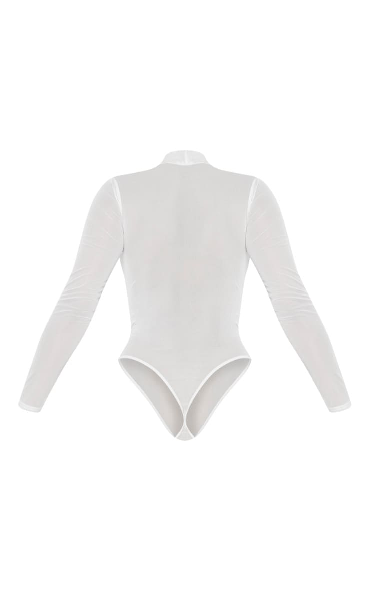 White Mesh Pearl Detail Long Sleeve Bodysuit 4