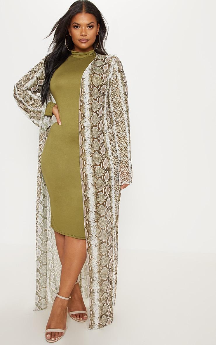Plus Taupe Mesh Snake Print Maxi Kimono 1