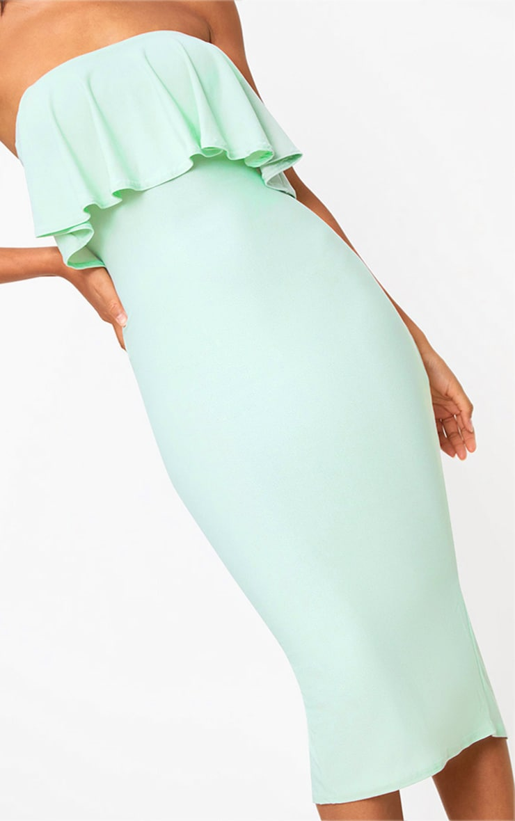 Sage Green Frill Bandeau Midi Dress  5