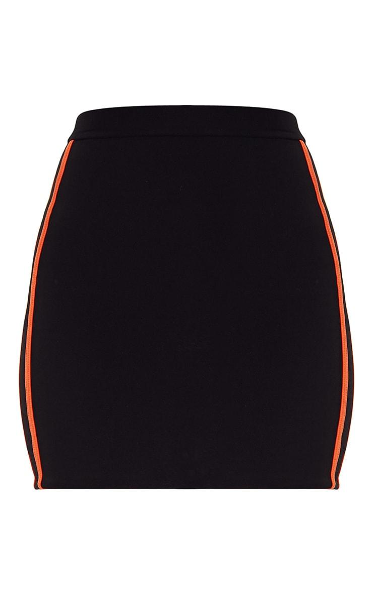 Black Slinky Sports Stripe Mini Skirt  3