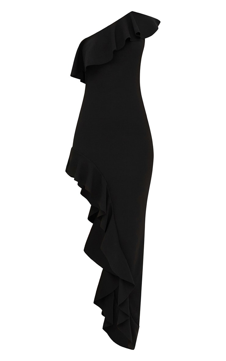Black One Shoulder Ruffle Detail Asymmetric Maxi Dress 3