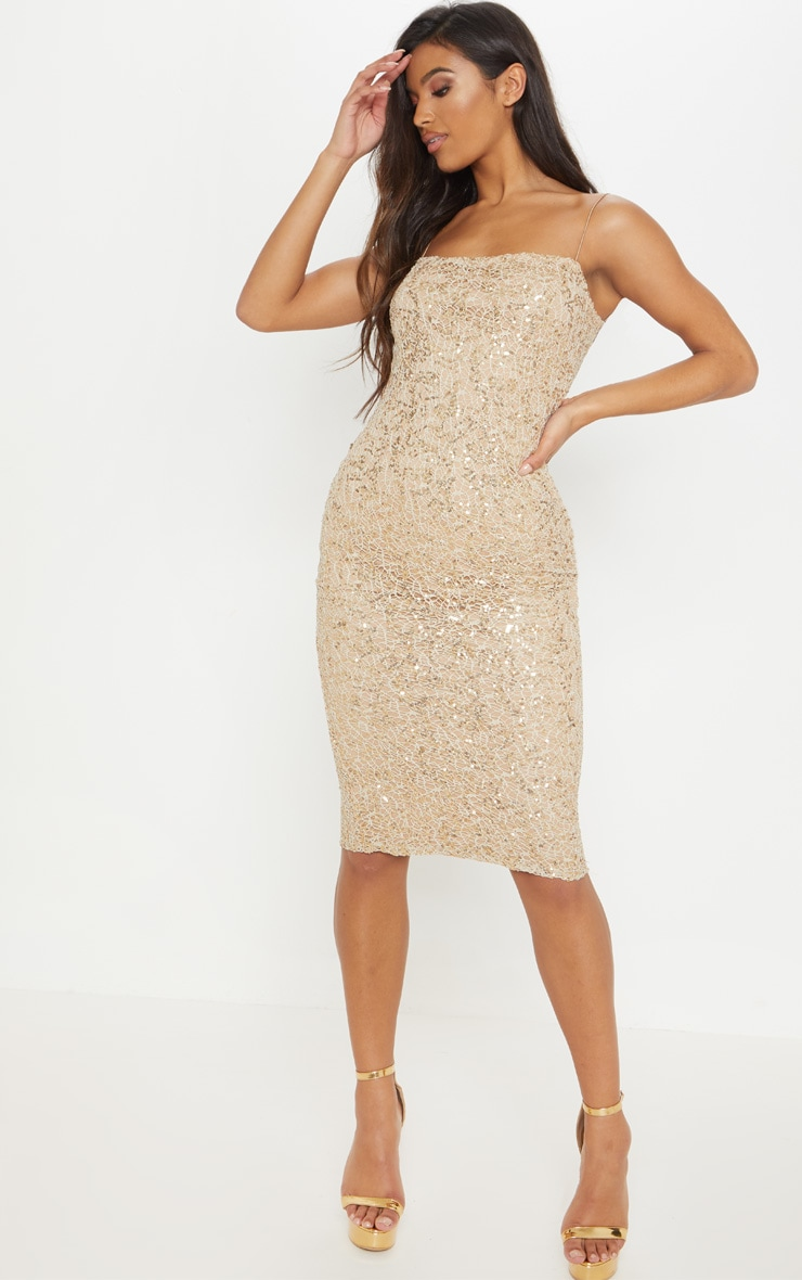 Gold Lace Sequin Square Neck Midi Dress 1