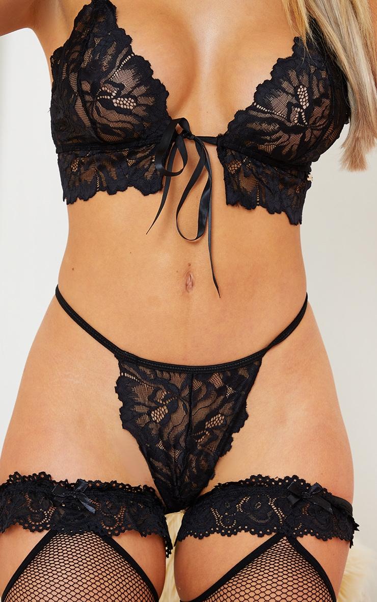 Black Triangle Lace Up Bum Lingerie Set 3