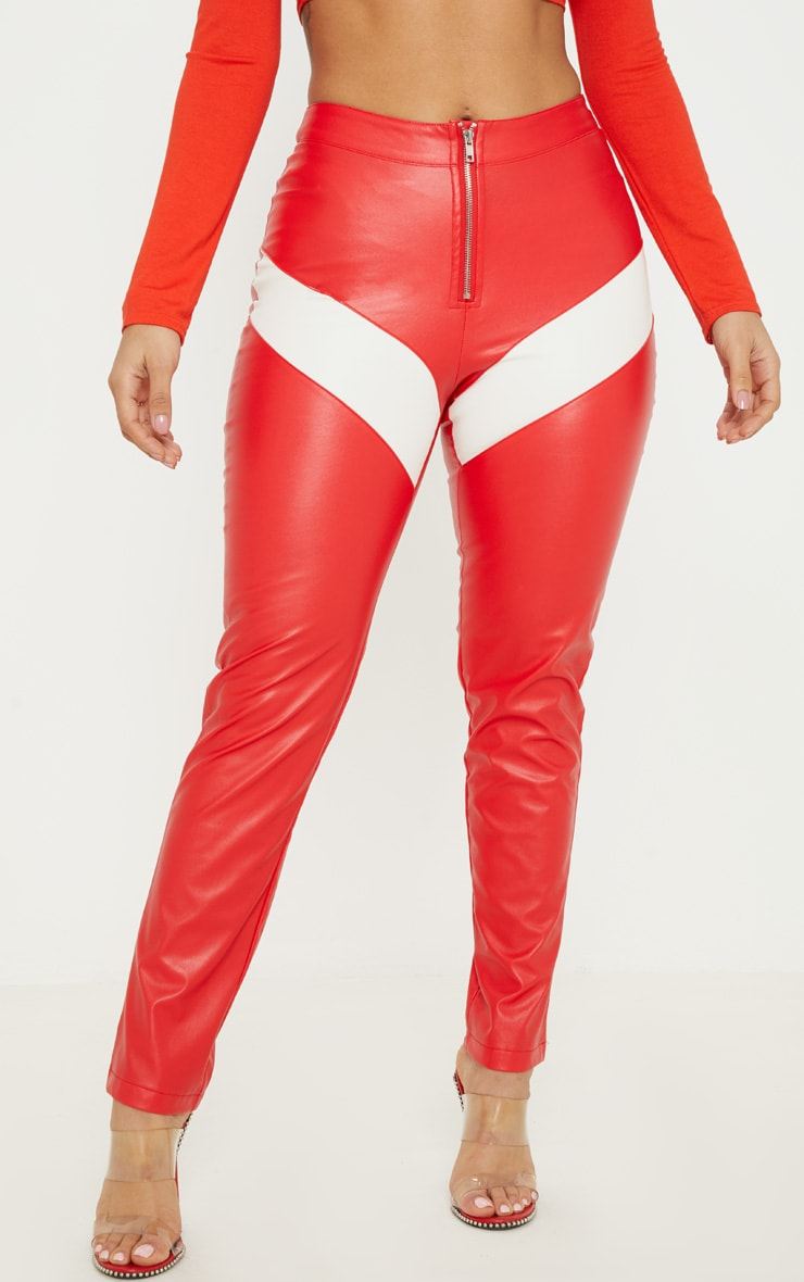 Red Faux Leather Zip Front Panel Detail Straight Leg Pants  2