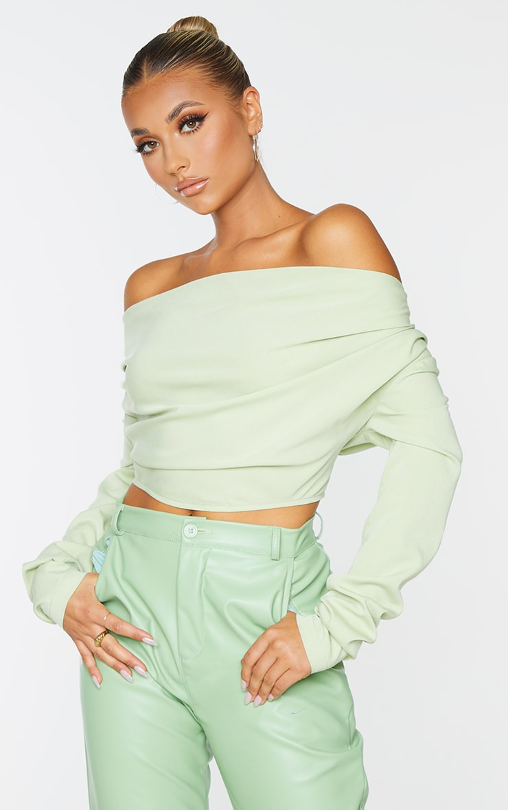 Sage Green Woven Draped Front Long Sleeve Cropped Shirt 1