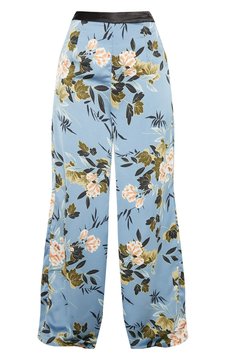 Blue Satin Floral Print Wide Leg Trouser 3
