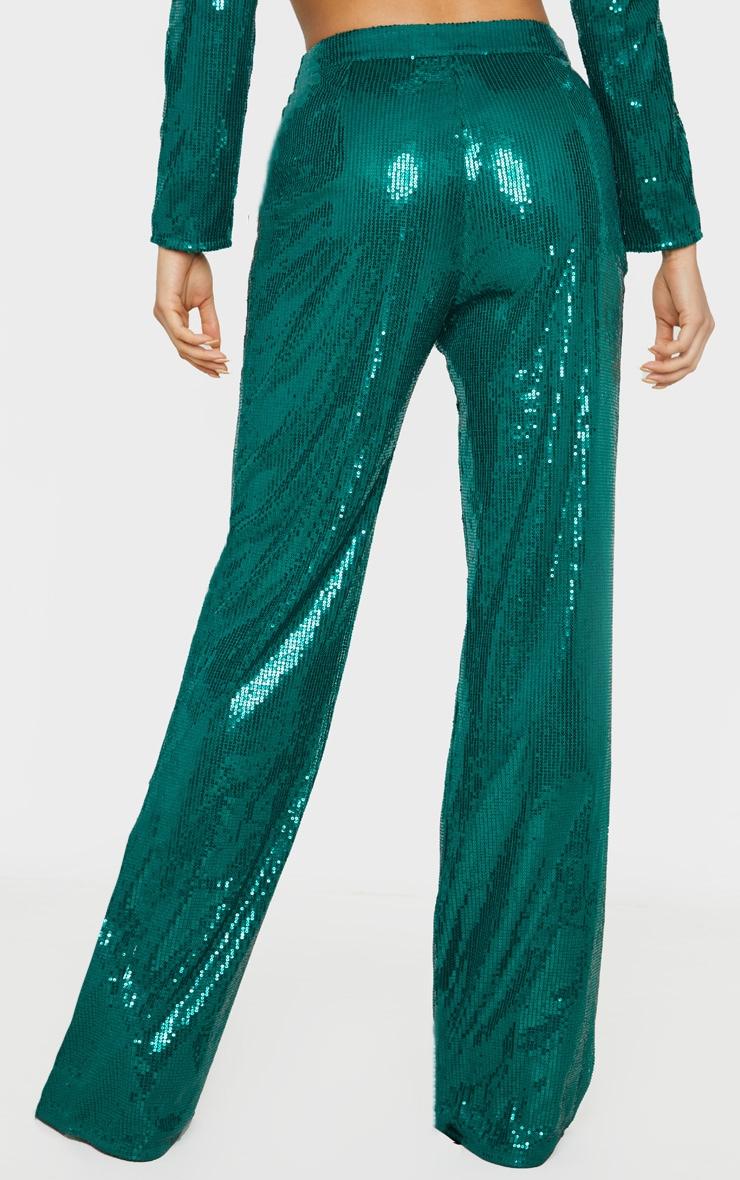 Tall Emerald Green Sequin Wide Leg Pants 4