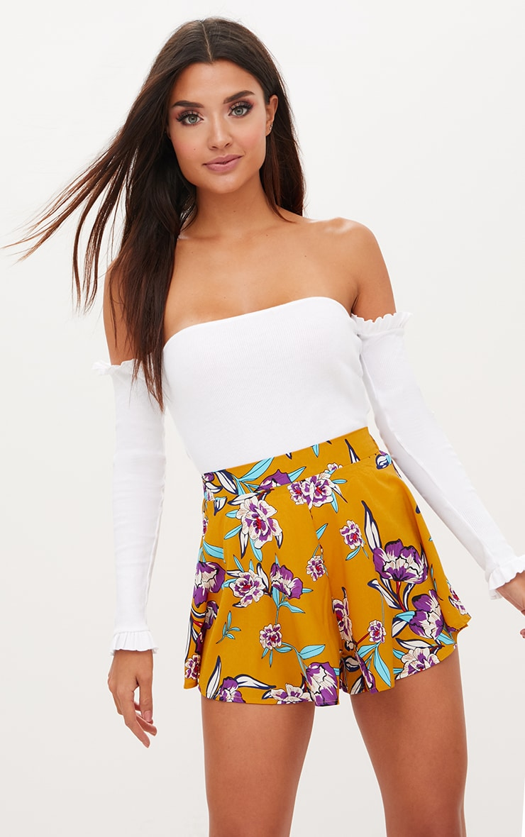 Mustard Floral Floaty Shorts 1