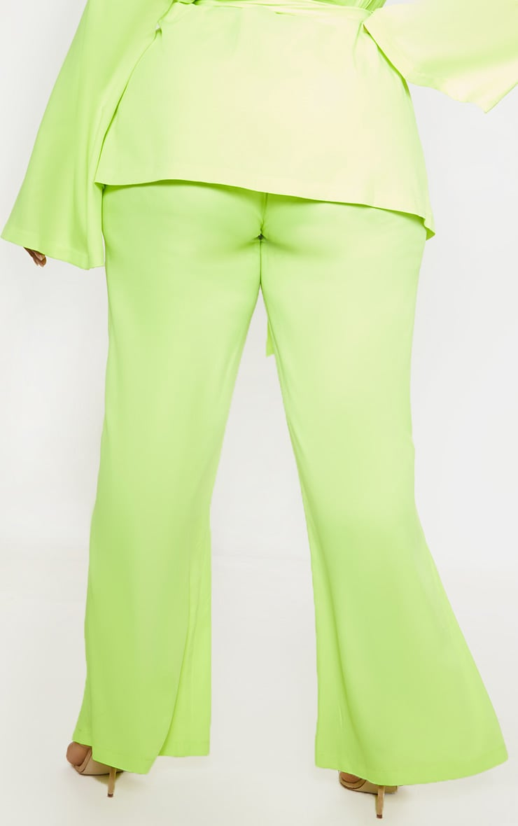 Plus Neon Lime Woven Wide Leg Suit Pants 3