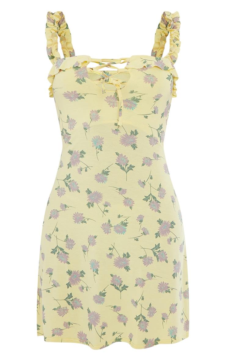 Yellow Ditsy Print Frill Detail Shift Dress 5