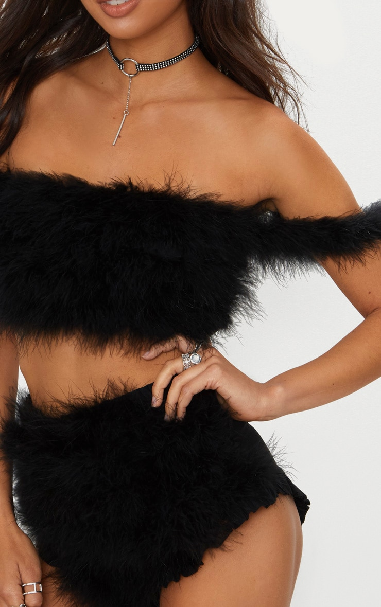 Black Feather Bandeau Top 4