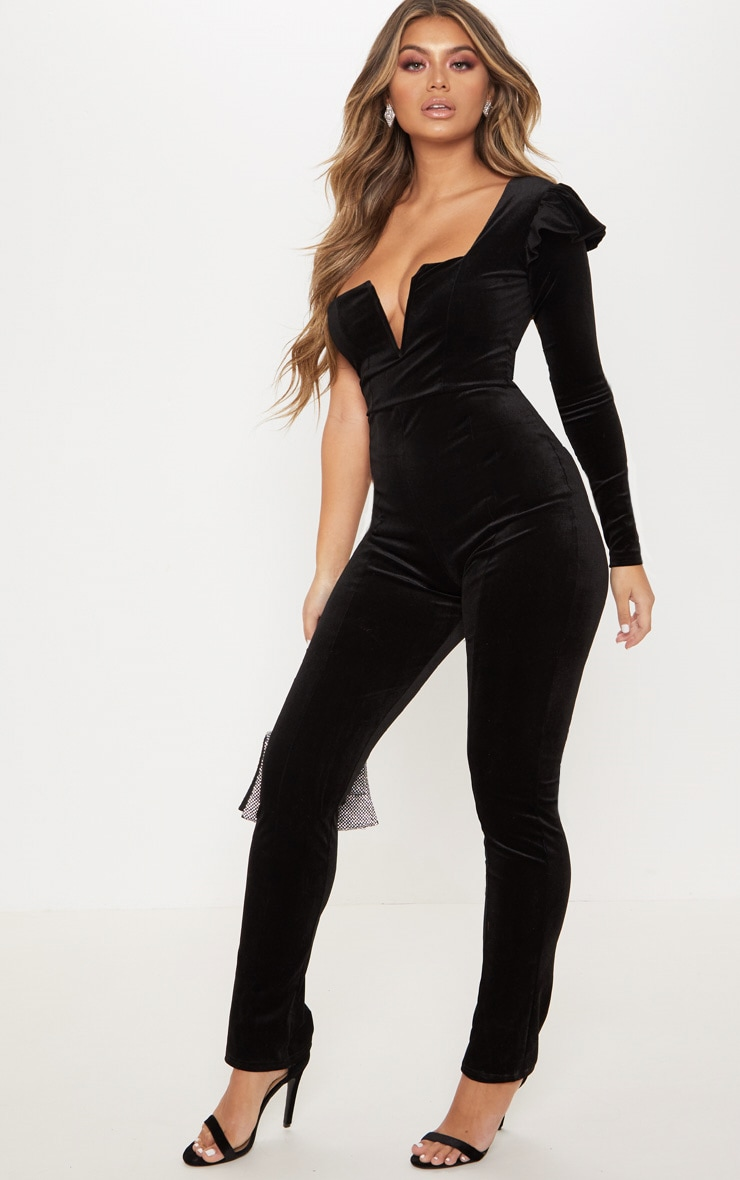 Black Velvet V Bar One Shoulder Jumpsuit 3