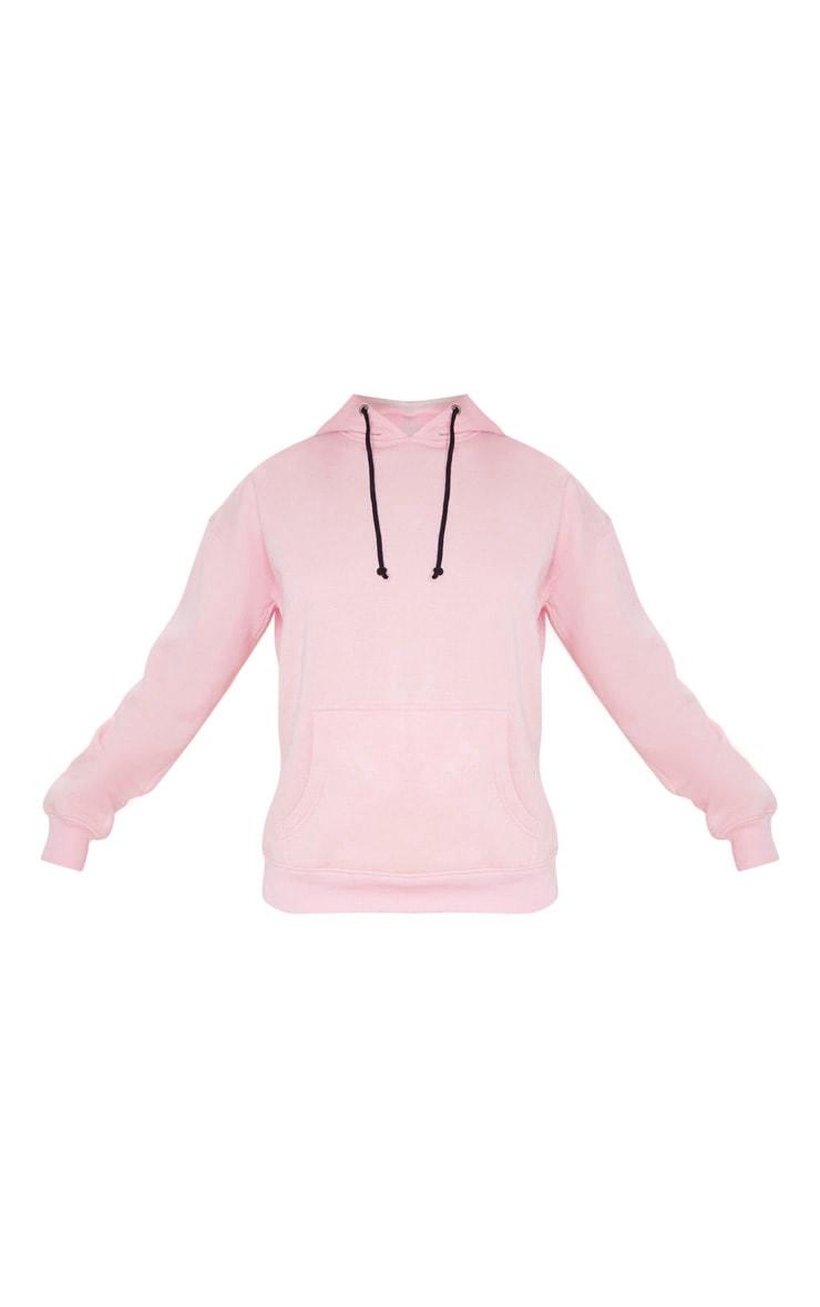 PRETTYLITTLETHING Light Pink Slogan Oversized Pocket Hoodie 5