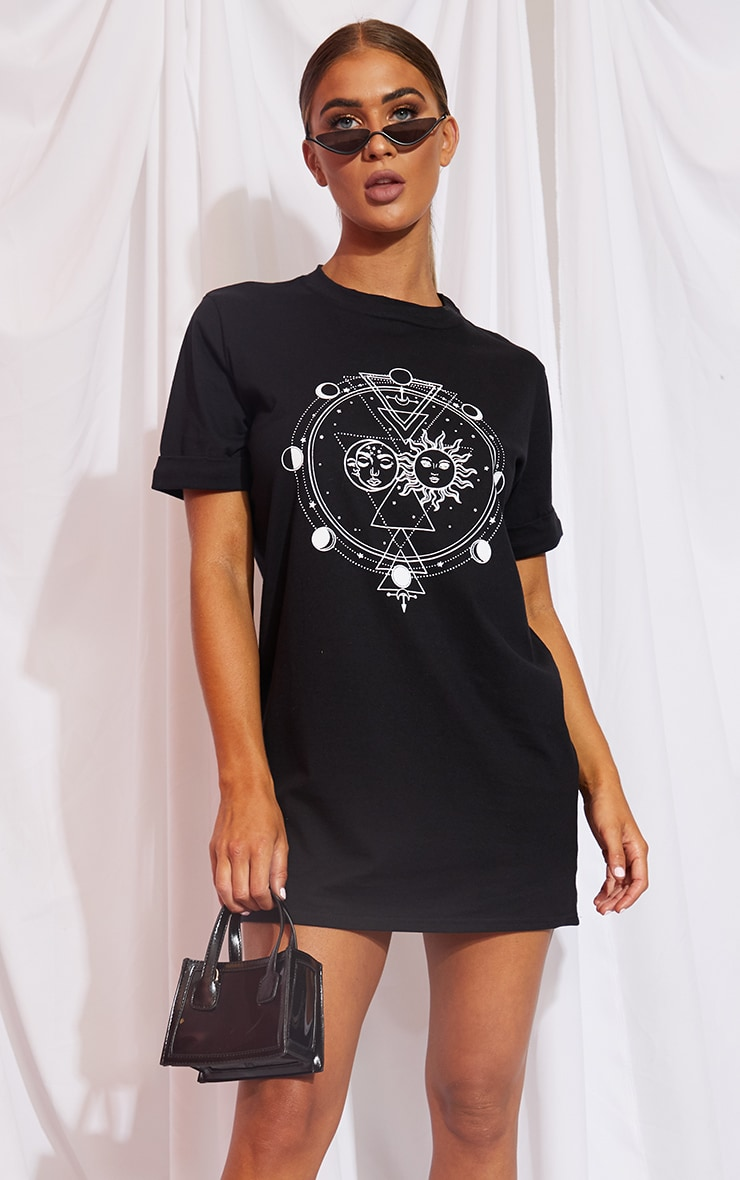 Black Sun & Moon Print Oversized T Shirt Dress 1