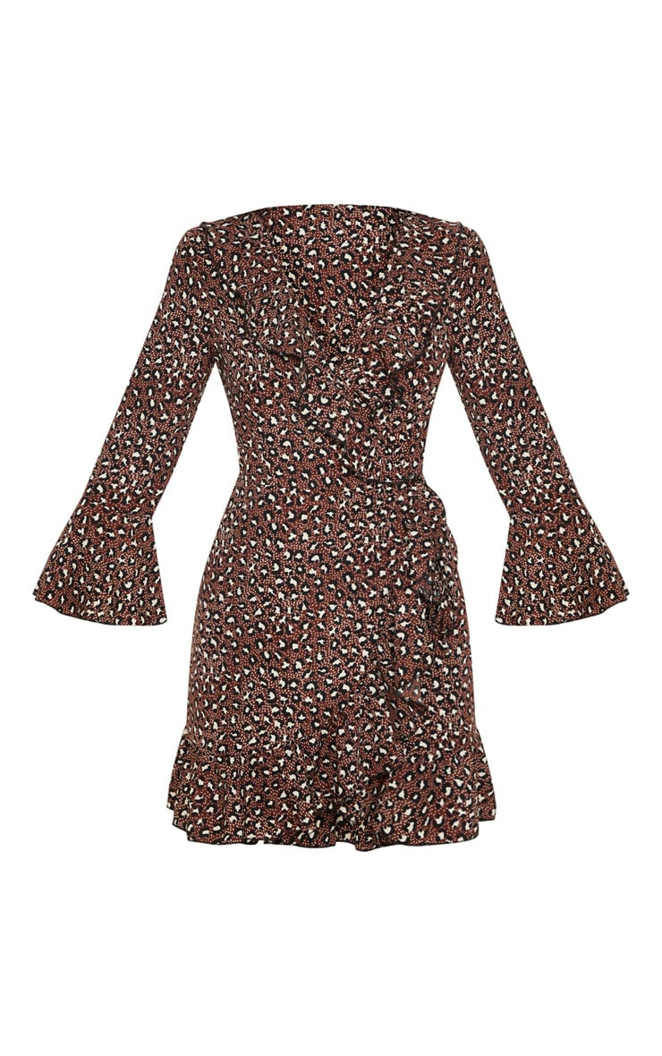 Chocolate Brown Polka Dot Leopard Print Frill Wrap Tea Dress 3