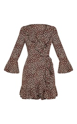 Chocolate Brown Polka Dot Leopard Print Frill Wrap Tea Dress 3