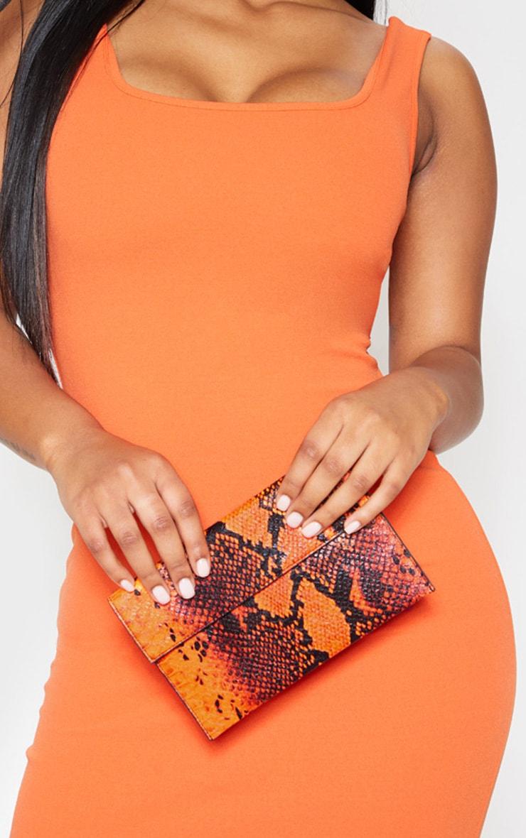 Neon Orange Snake Clutch Bag 1
