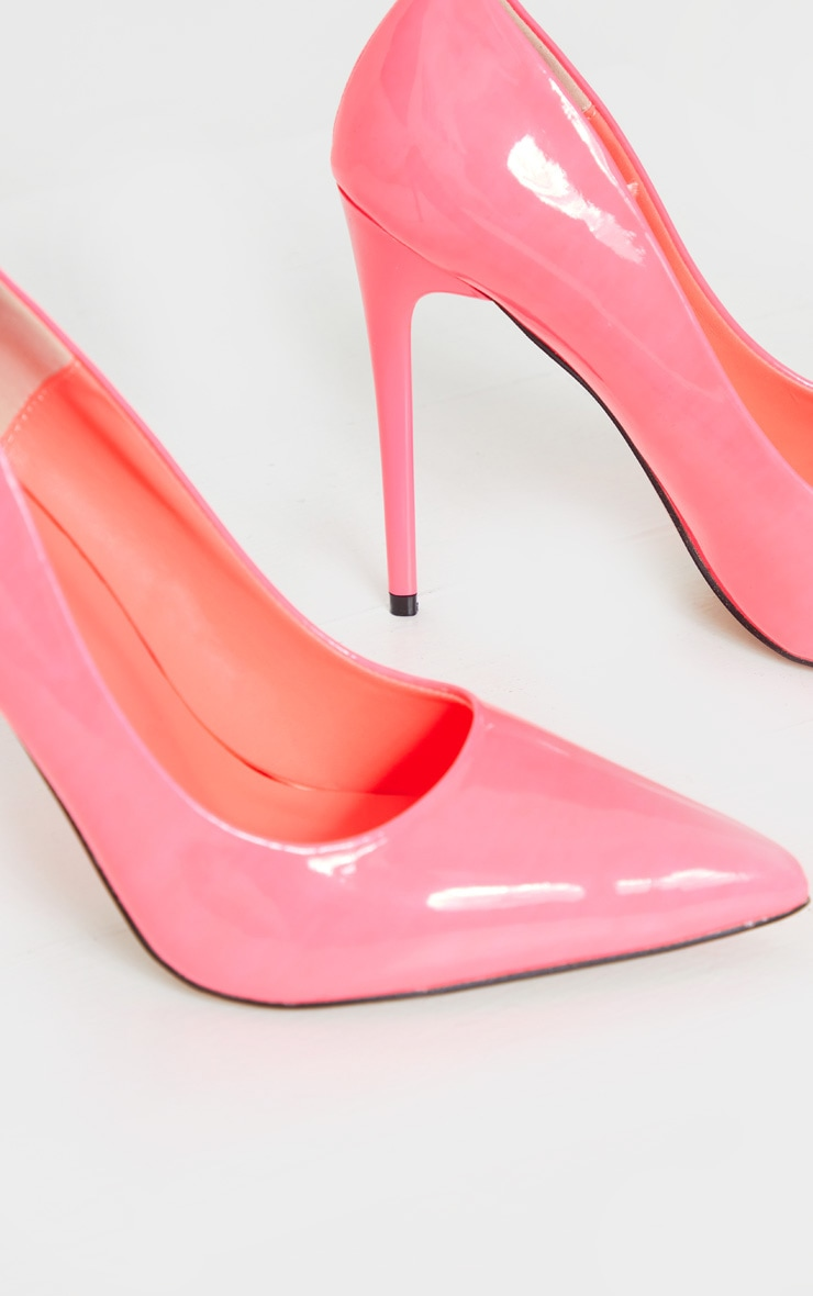 Neon Pink Patent PU High Court Heel Shoes 4