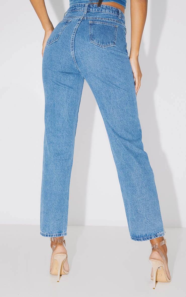PRETTYLITTLETHING Mid Blue Straight Leg Jean  4