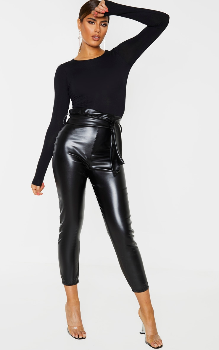 Tall Black Ruched Waist PU Pants 1
