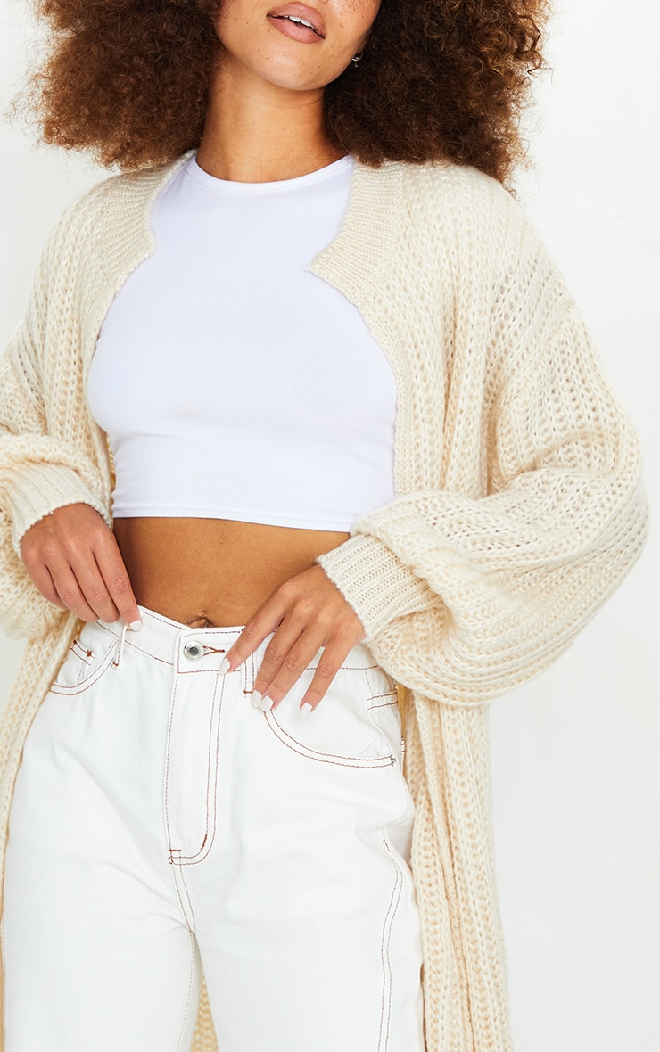 Cream Premium Fluffy Chunky Knit Balloon Sleeve Midi Cardigan 4