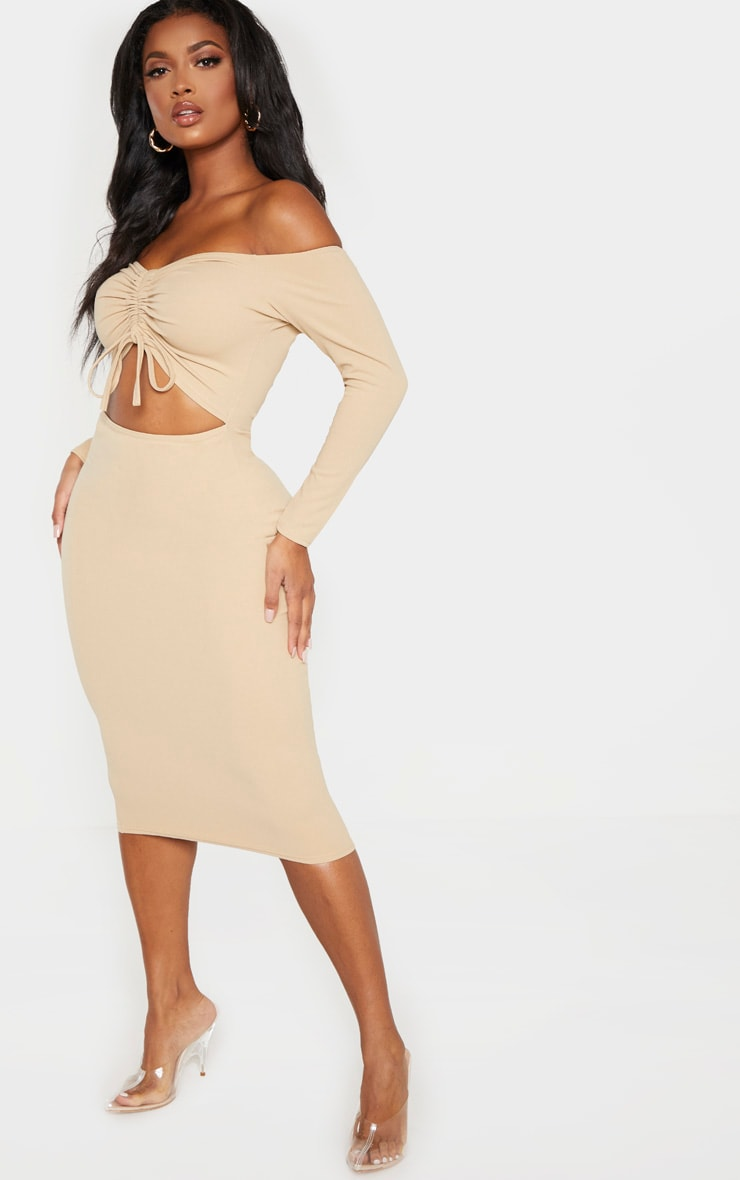 Shape Stone Cut Out Ruched Front Midi Dress 4