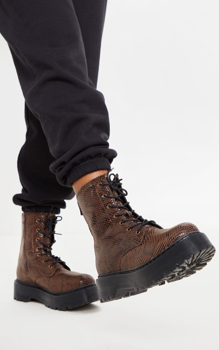 Brown Snake Wide Fit Chunky Sole Lace Up Ankle Boot 2