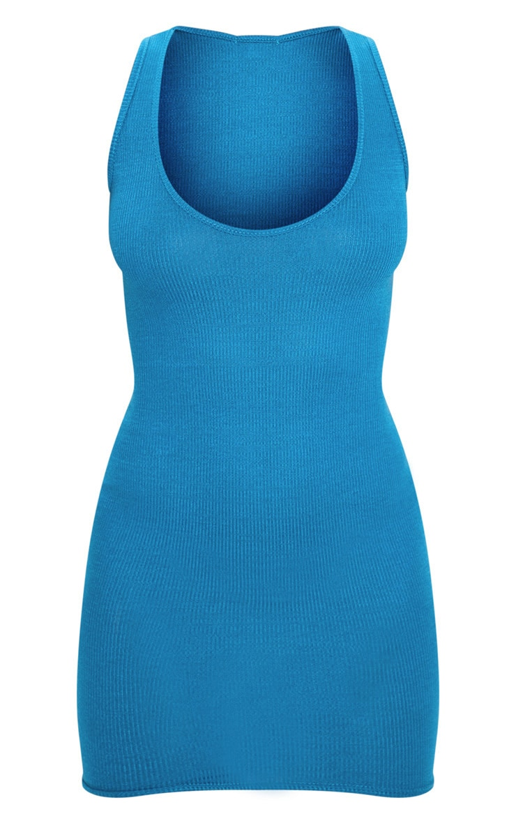 Petrol Blue Ribbed Scoop Bodycon Dress 3