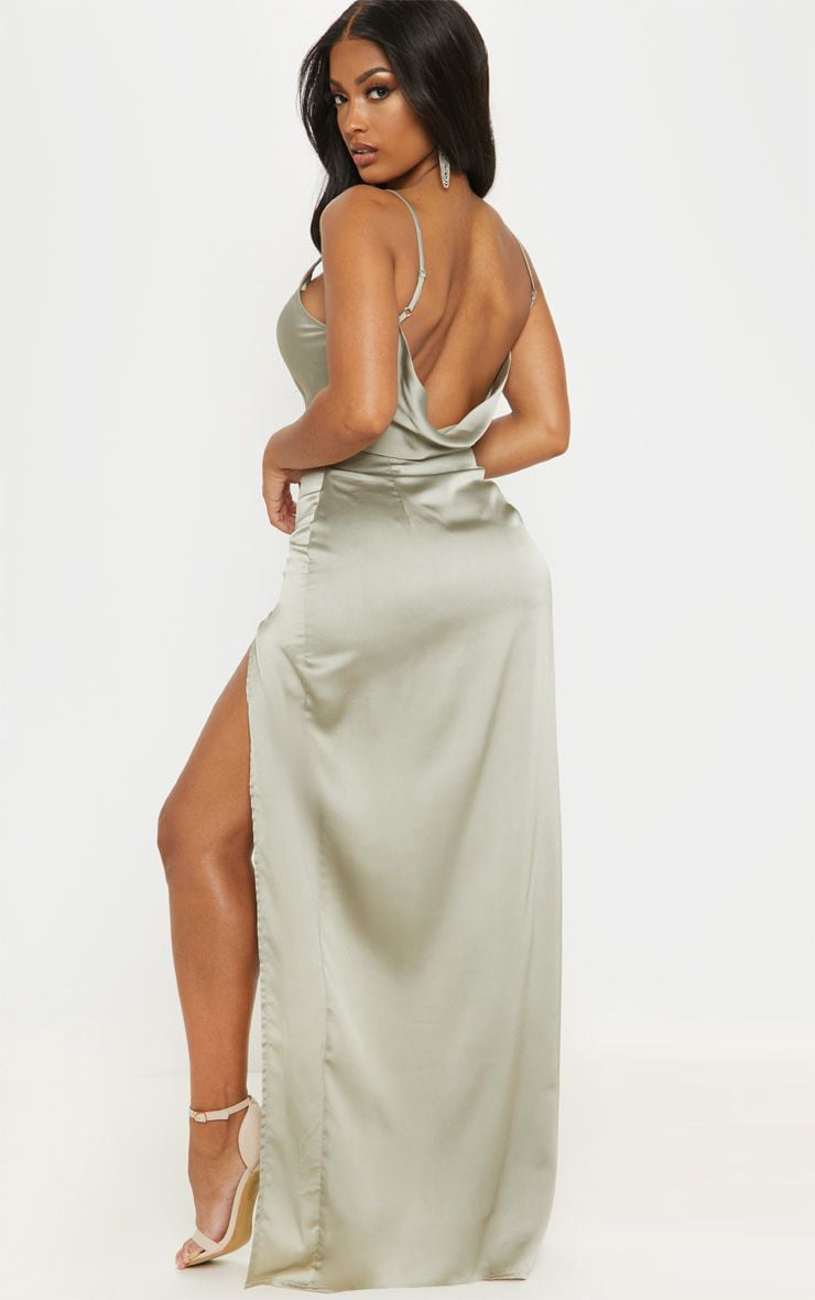 Shape Sage Green Satin Cowl Neck Maxi Dress 1