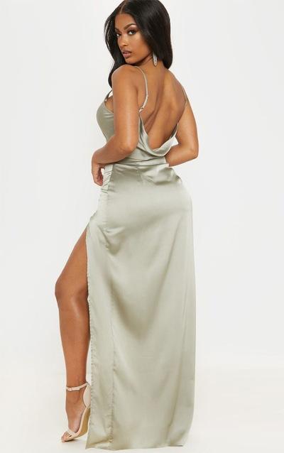 f13d3d0c5349 Shape Sage Green Satin Cowl Neck Maxi Dress PrettyLittleThing Sticker