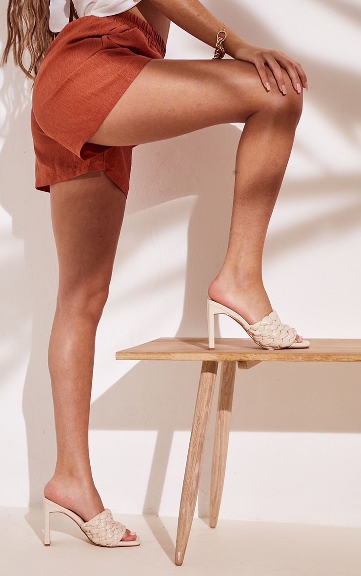 Cream Basket Weave Square Toe High Flat Block Heel Mules 1