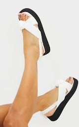 White Padded Knot Slingback Square Toe Flatform Sandals 2