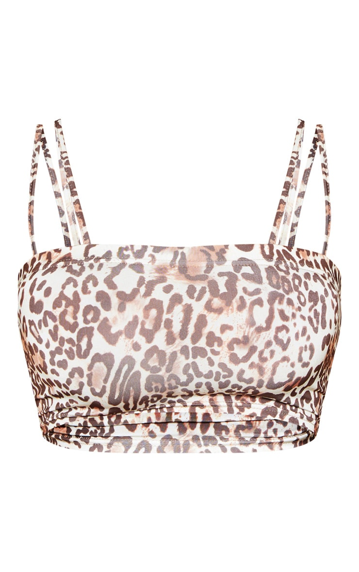 Tan Slinky Leopard Print Double Strap Crop Top 3